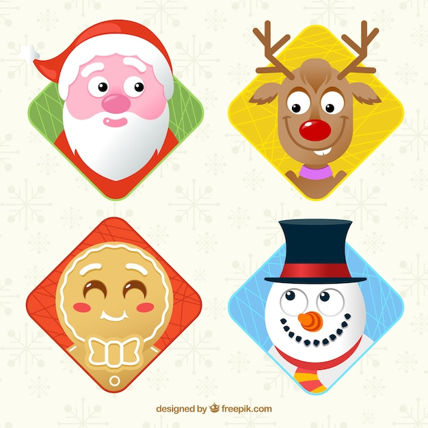 Collection of faces of typical christmas characters