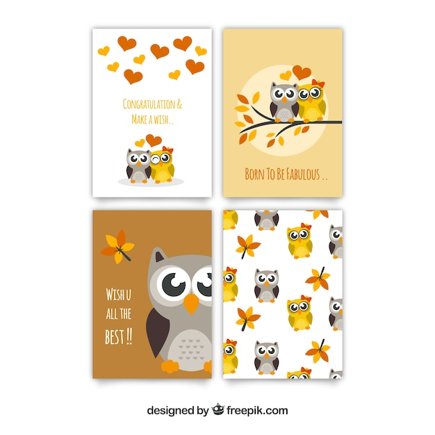 Collection of fantastic greeting cards with cute owls Free Vector