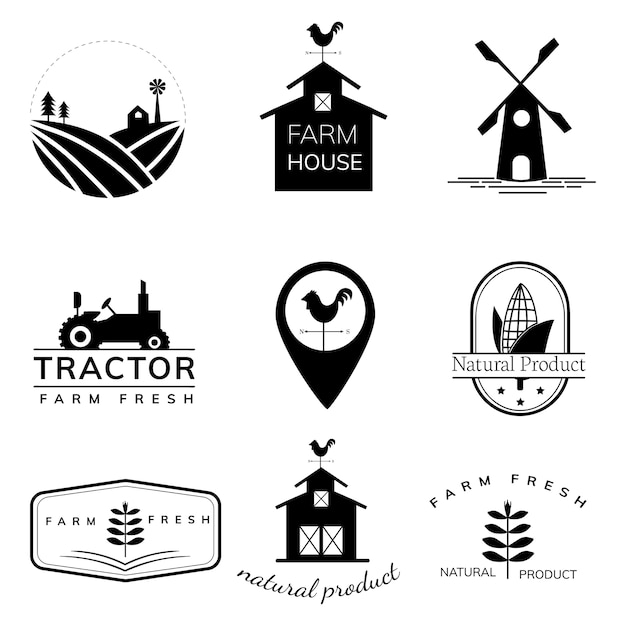 Collection of farming logo illustrations Free Vector