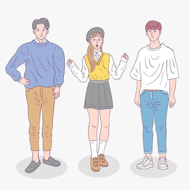 ファッション若い韓国人のコレクション 無料ベクター