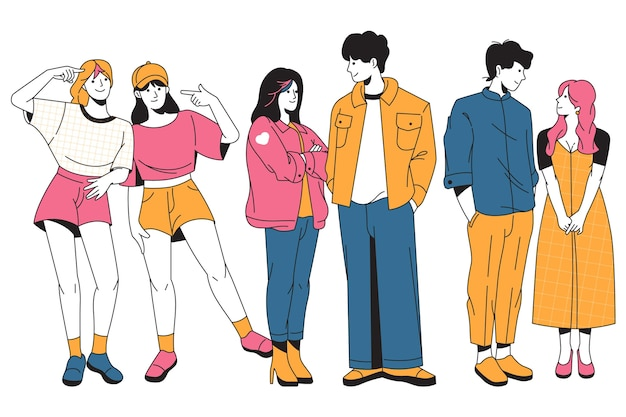 Коллекция модных молодых корейцев Бесплатные векторы