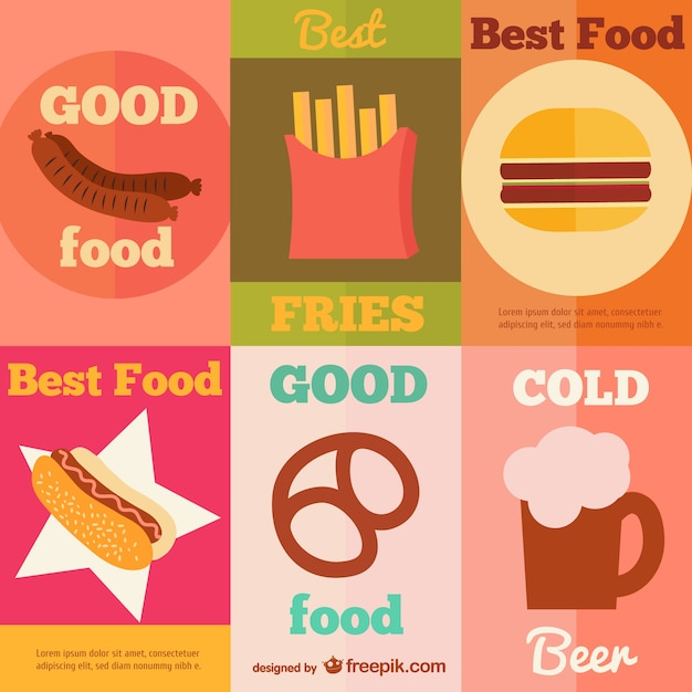 collection of fast food vintage posters vector free download