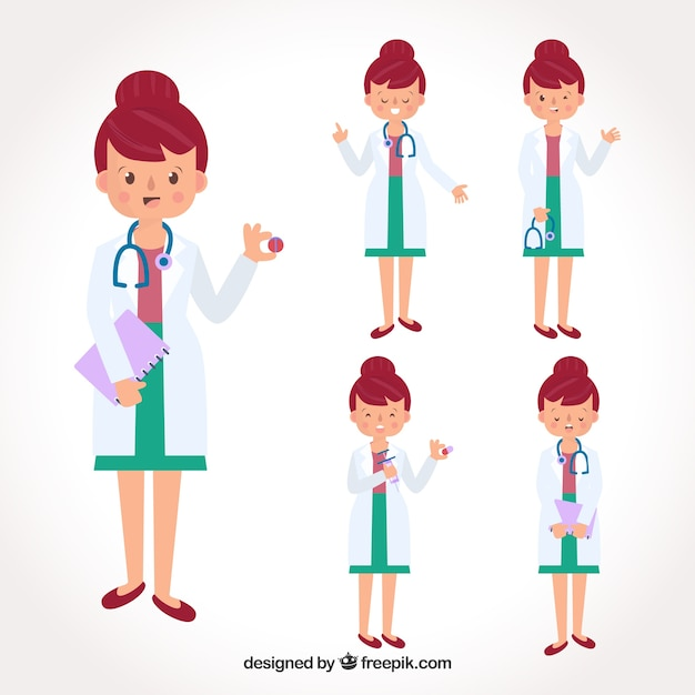 Collection of female doctor with pills and\ stethoscope