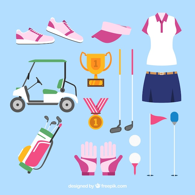 Collection of female golf elements Free Vector