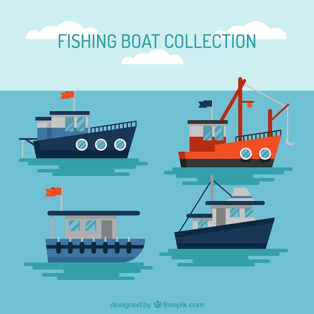 Collection of fishing boat sailing in flat\ design