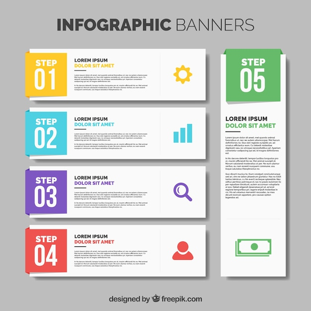 Collection of five infographic banners with color details Free Vector