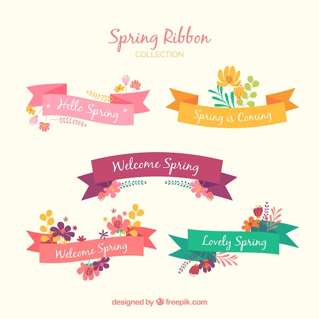 Collection of five spring ribbons Free Vector