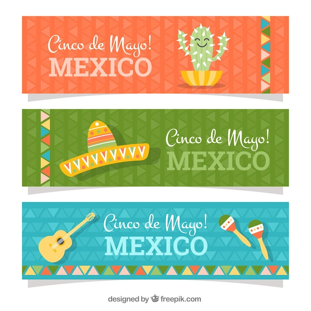 Collection of flat banners with items for cinco de mayo Free Vector