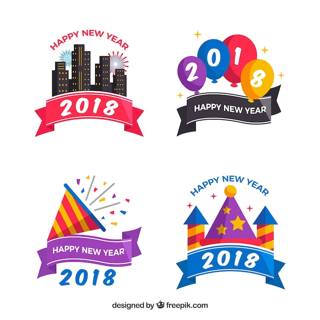 Collection of flat colourful new year badges