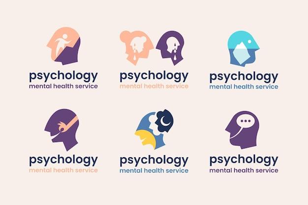 Коллекция плоского дизайна логотипа психологии психического здоровья Бесплатные векторы