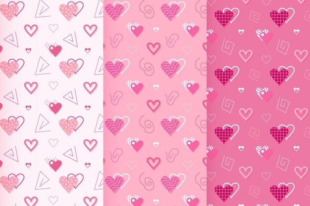 평면 디자인 발렌타인 패턴 모음 무료 벡터