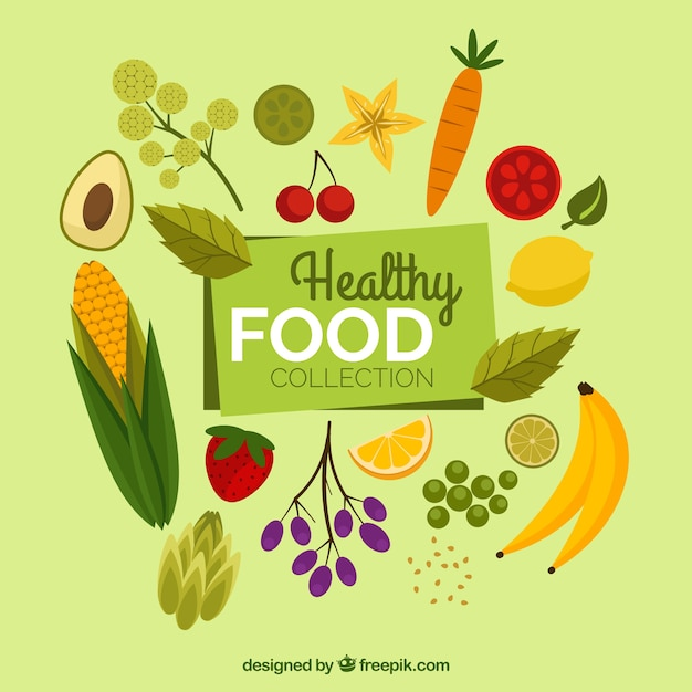 Collection of flat healthy food