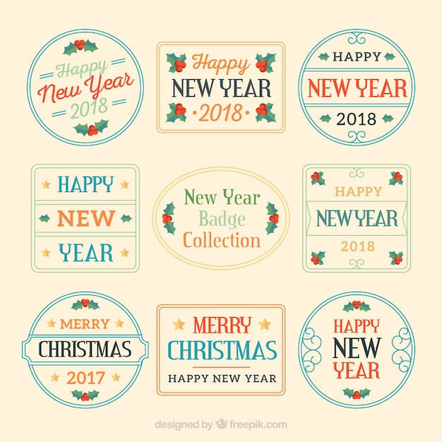 Collection of flat new year badges
