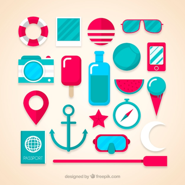 Collection of flat summer elements Free Vector