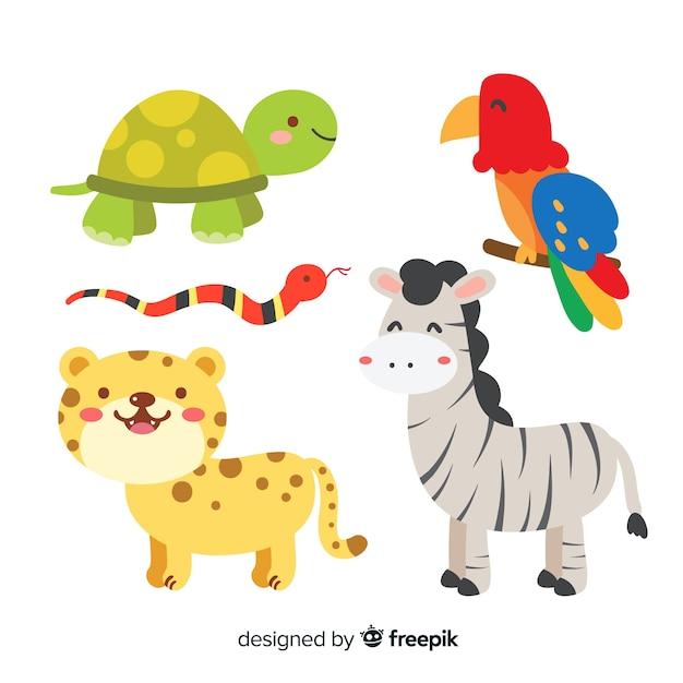 Коллекция плоских тропических животных Premium векторы