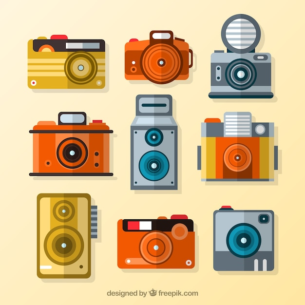 Collection of flat vintage camera