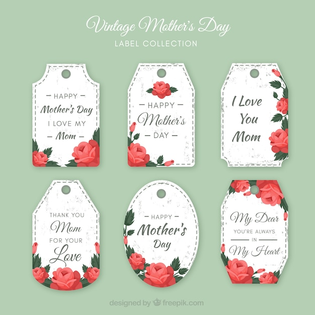 Collection of floral mother\'s day labels