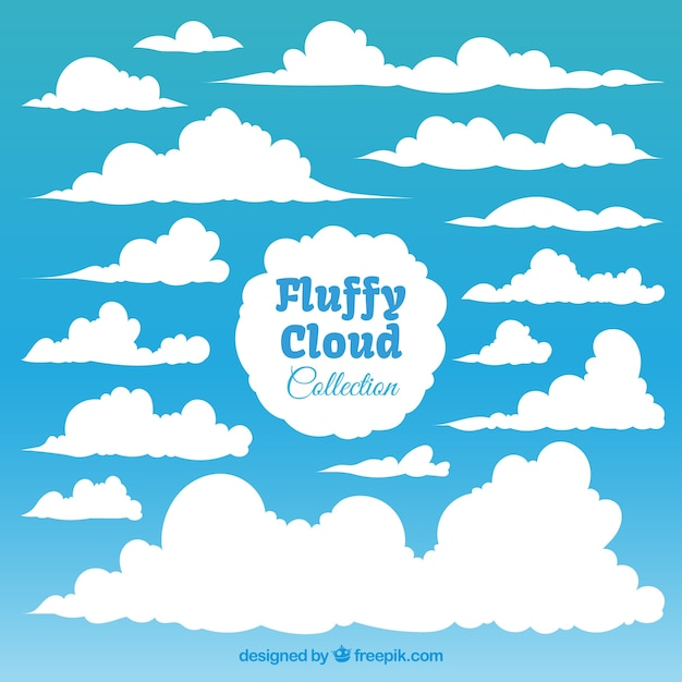 Collection of fluffy white clouds Free Vector