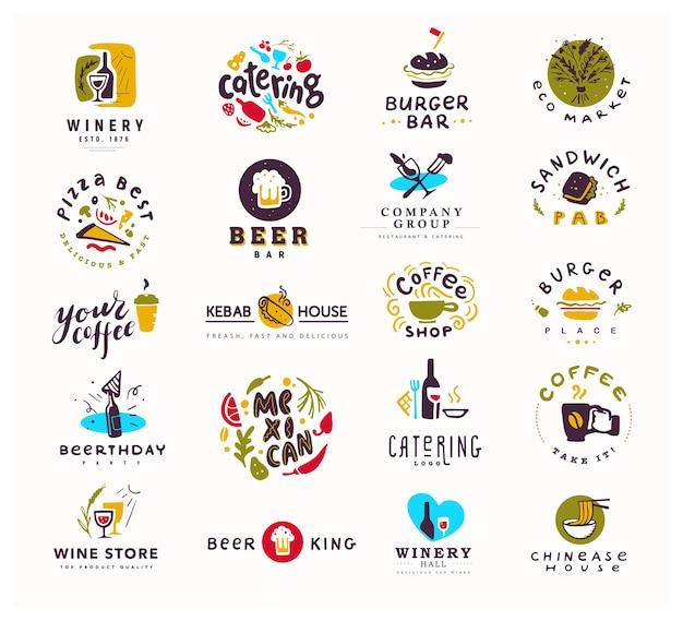 Коллекция логотипов продуктов питания и алкоголя, изолированные на белом фоне. Premium векторы