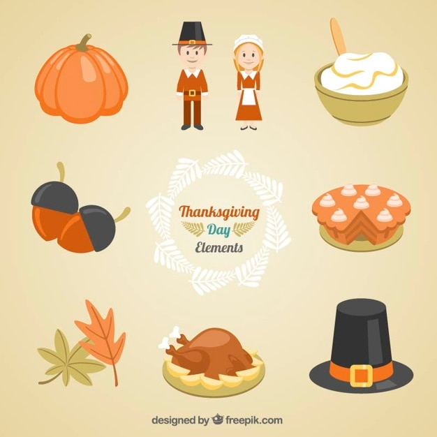 Collection of food and traditional thanksgiving clothing