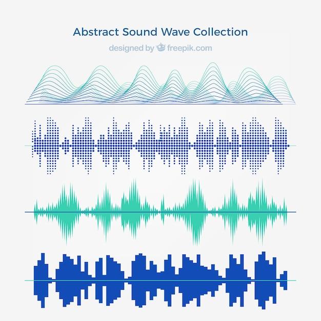 Коллекция из четырех абстрактных звуковых волн Бесплатные векторы