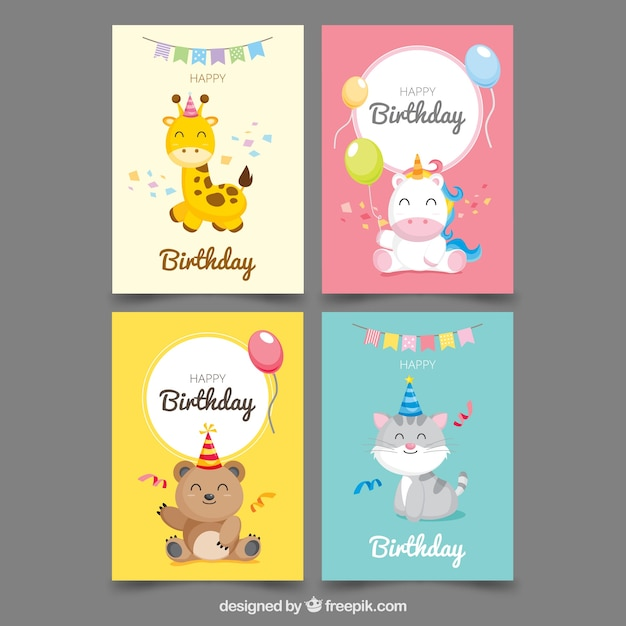 Collection of four birthday cards Free Vector
