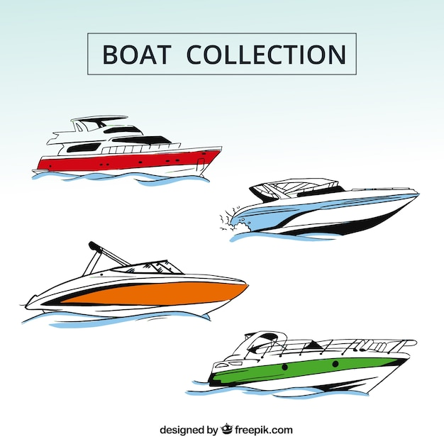 Collection of four boats with color\ details