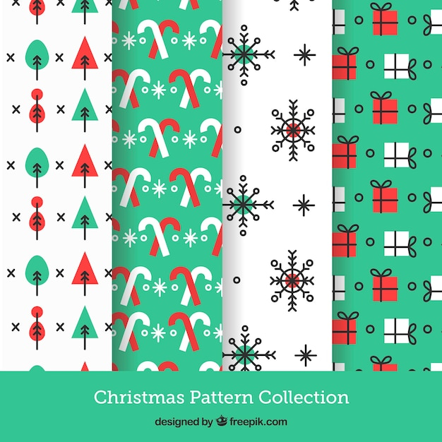 Collection of four christmas patterns in white and turquoise