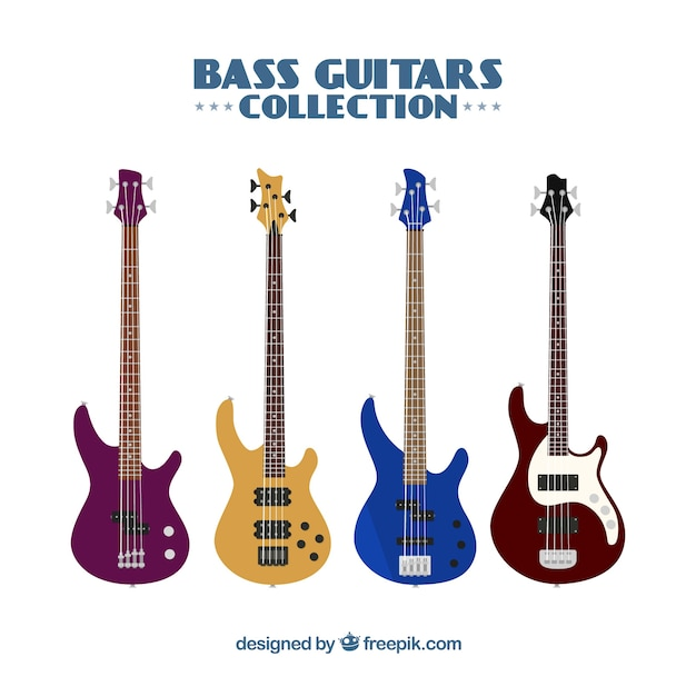 Collection of four colored bass guitars Free Vector