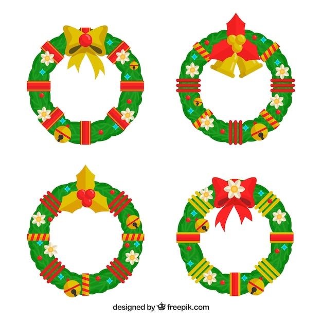 Collection of four decorated christmas wreaths