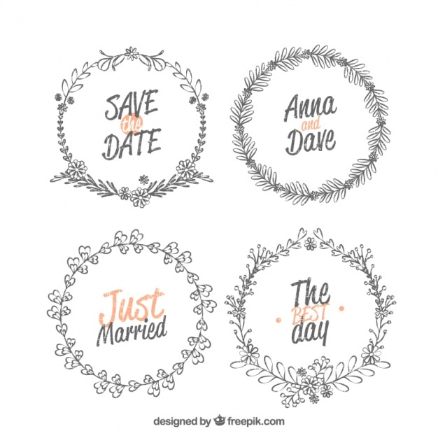 Collection of four decorative wedding frames vector free download collection of four decorative wedding frames free vector junglespirit Images