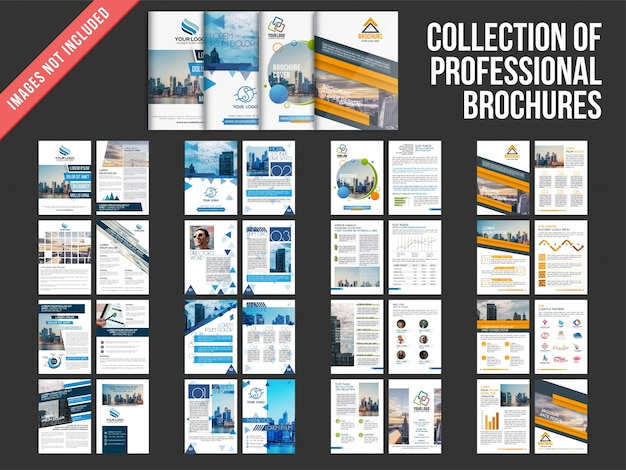 Collection of four multiple pages brochures with cover page design.  Premium Vector