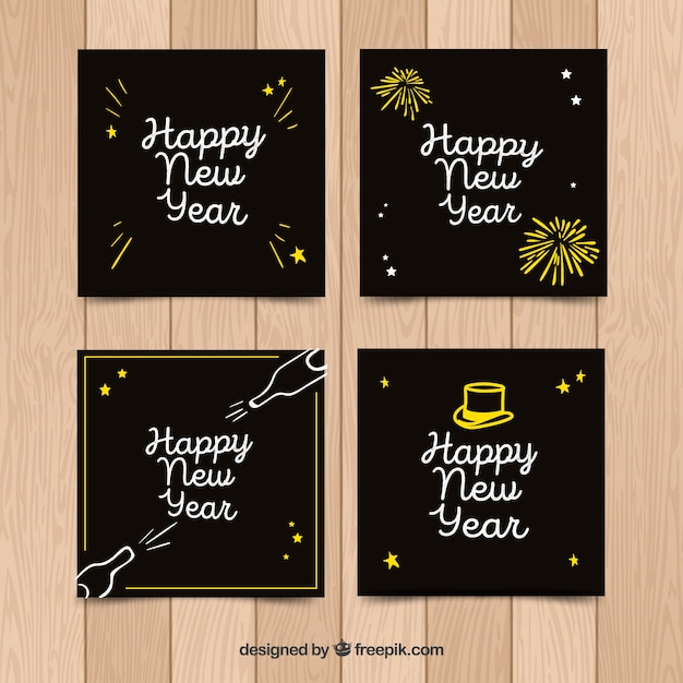 Collection of four nice hand drawn greeting cards for new year