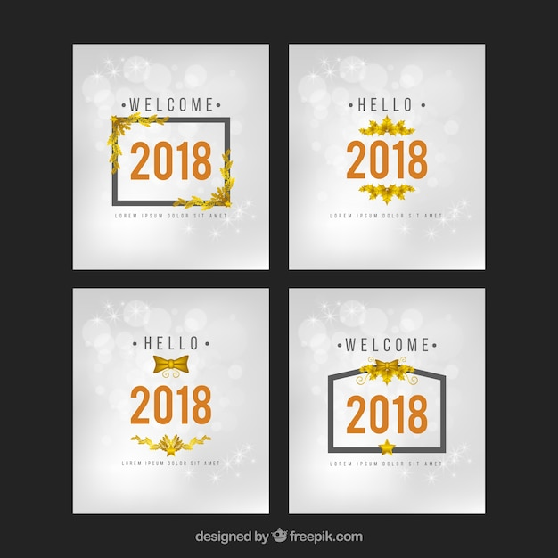 Collection of four square new year golden and silver cards