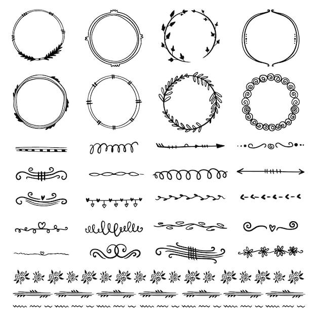 Коллекция рам и элементов орнамента Бесплатные векторы