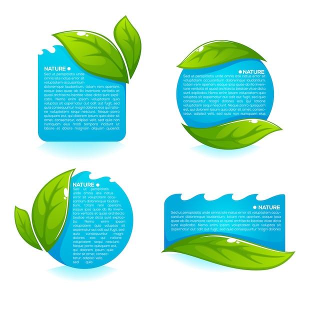 新鮮な緑の葉ときれいな青い水のラベルのコレクション Premiumベクター