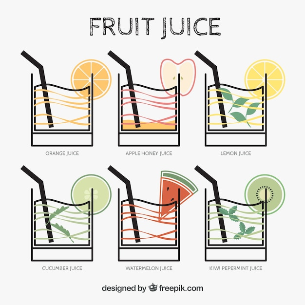 Collection of fruit juices