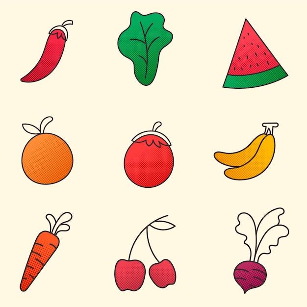 果物と野菜のコレクション 無料ベクター
