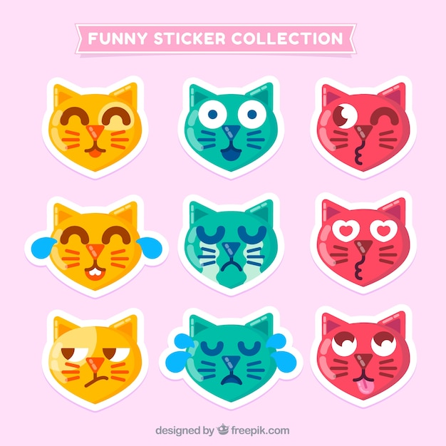 Collection of funny cat sticker in flat design