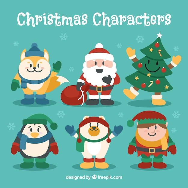 collection of funny christmas characters vector free download