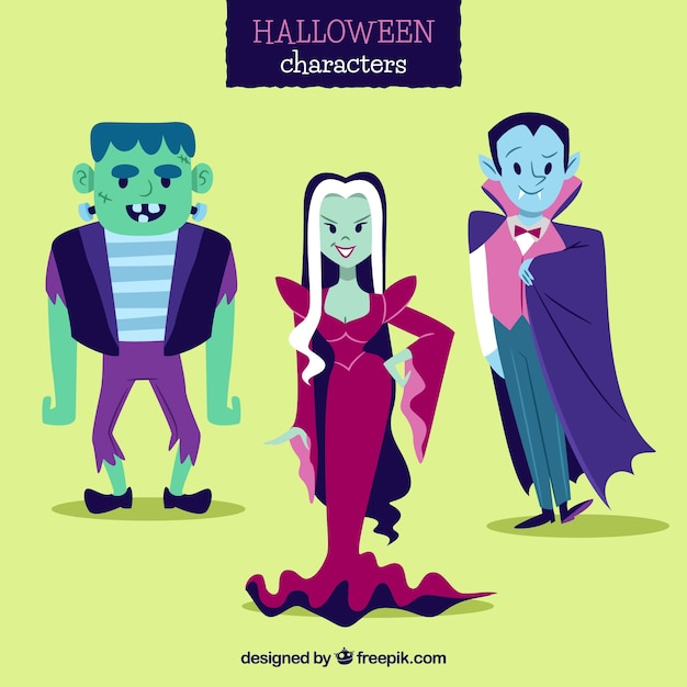 Collection of funny halloween characters