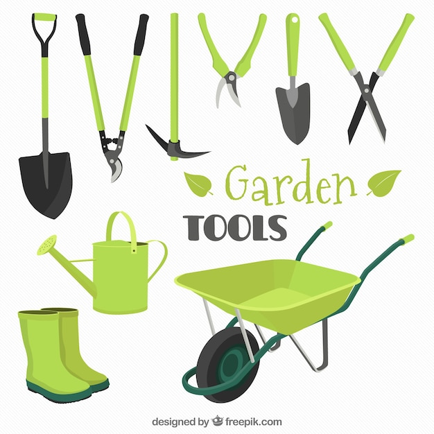 Collection of garden tools in green color vector premium for Gardening tools clipart