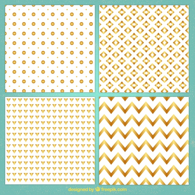 Collection of geometric golden patterns Free Vector