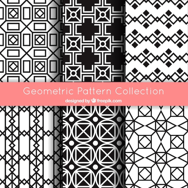 Collection of geometric patterns in black and white