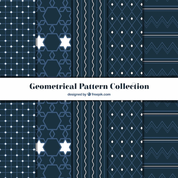 Collection of geometric patterns with white details