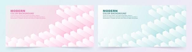 Коллекция геометрических розовый и синий баннер. Premium векторы