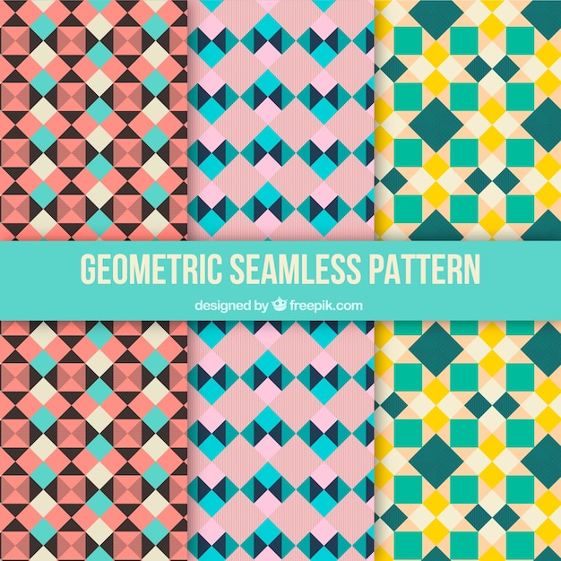Collection of geometric retro patterns