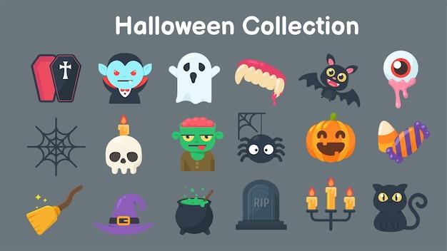 Коллекция призраков и предметов для хэллоуина. отделяйте элементы от фона Premium векторы