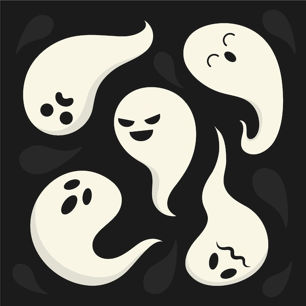 Коллекция призраков с разными эмоциями Бесплатные векторы