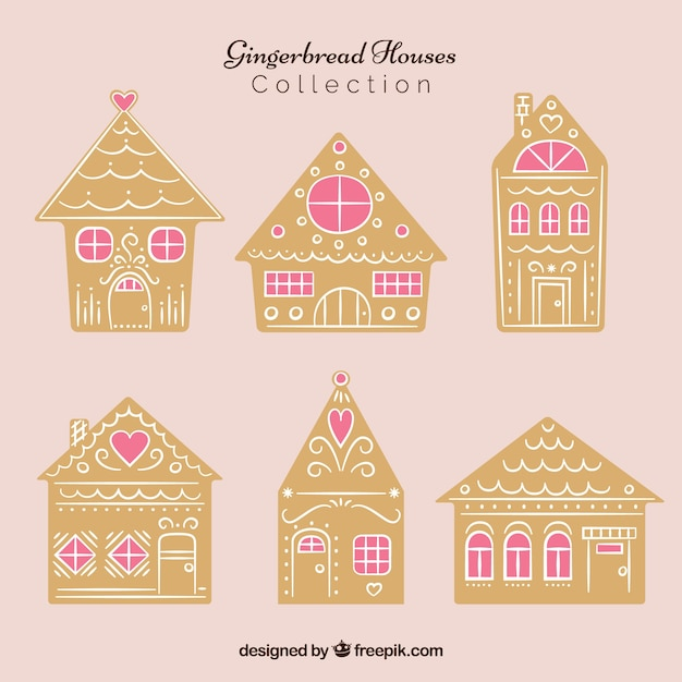 Collection of gingerbread houses with pink windows